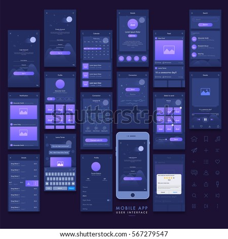 Mobile app layout design editable eps stock vector for App layout design online