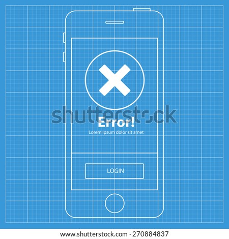 Mobile blueprint wireframe app screen location stock vector mobile blueprint wireframe app screenror profile screen which can be used as a mockup malvernweather Gallery