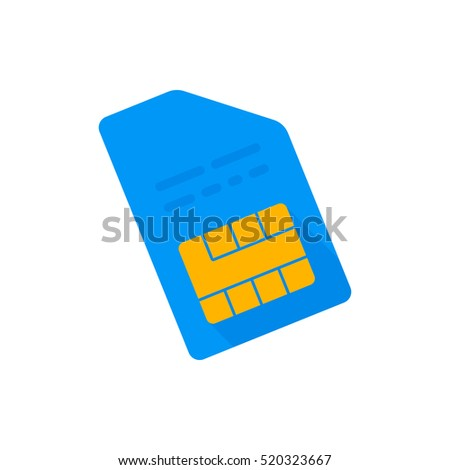 Mobile chip. Vector icon. Blue