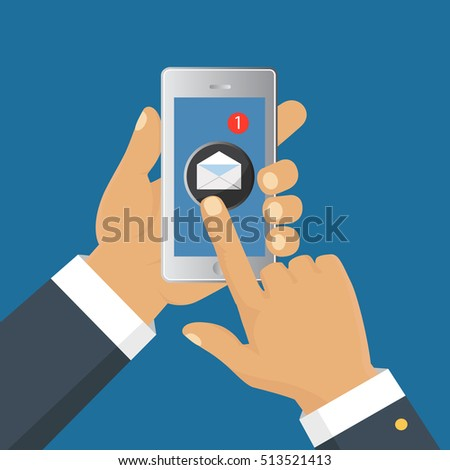 Mobile messenger chat, hands with smartphone sending a message. Isometric flat design, vector illustration