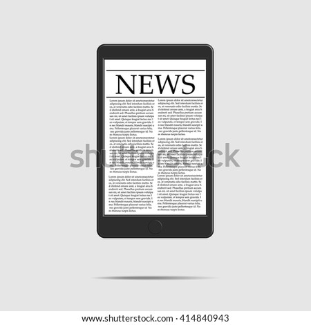 Mobile News Concept mobile phone with news on a white background