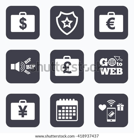 Mobile payments, wifi and calendar icons. Businessman case icons. Cash money diplomat signs. Dollar, euro and pound symbols. Go to web symbol.