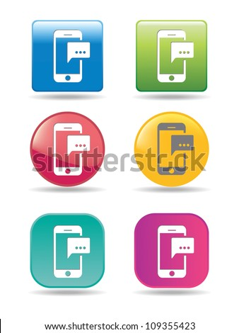 Mobile phones with message icons