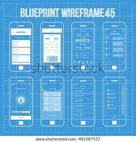 Blueprint wireframe mobile app ui kit vectores en stock 215335696 mobile wireframe app ui kit 45 agenda planner screen boarding pass screen account malvernweather Gallery