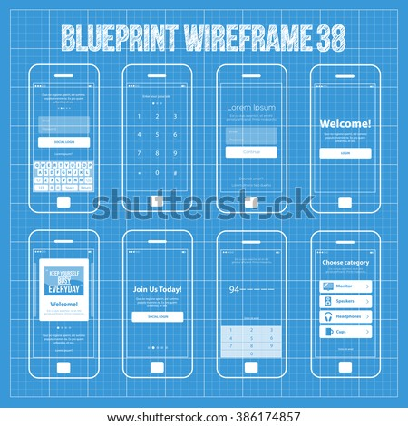 Blueprint wireframe mobile app ui kit vectores en stock 215335696 mobile wireframe app ui kit 38 authorize login screen join us screen enter malvernweather Images