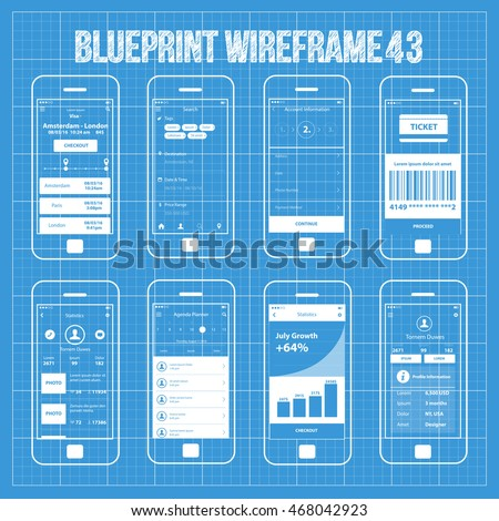 Mobile wireframe app ui kit 32 stock vector 331069682 shutterstock mobile wireframe app ui kit 43 travel planner ticket screen search screen account malvernweather Gallery