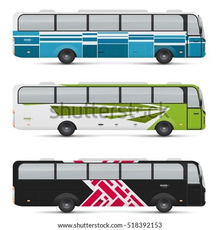 set new modern comfortable city buses stock vector