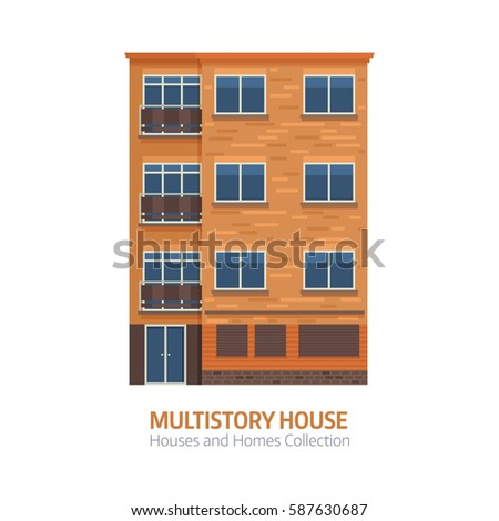 Apartment Building Front View On Urban Stock Vector