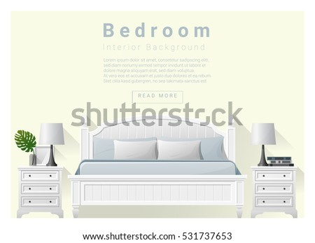 Modern Bedroom Background Interior Design Vector Illustration
