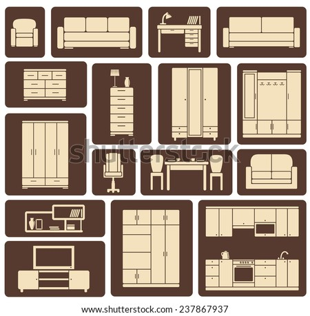 Modern beige furniture and interior items icons including wardrobe, sofa, shelves, tables in flat style for living room, kitchen, dining room and lounge design
