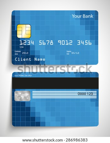 Modern blue abstract realistic vector credit card.
