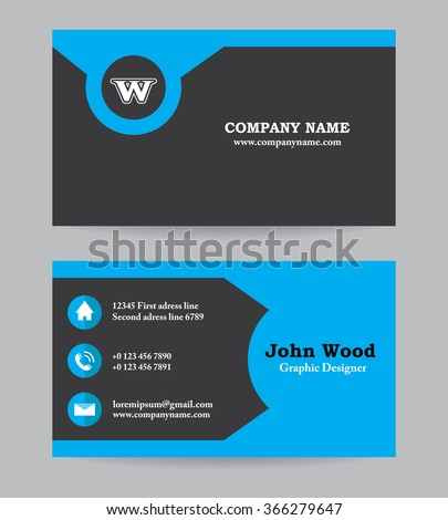 modern business card template flat design stock vector 366279668