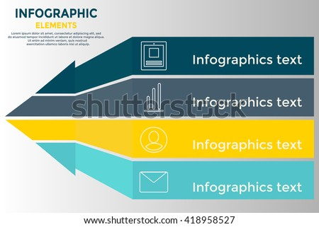 Modern business paper infografics, charts and graphs options banner. Vector illustration. Arrow design template.