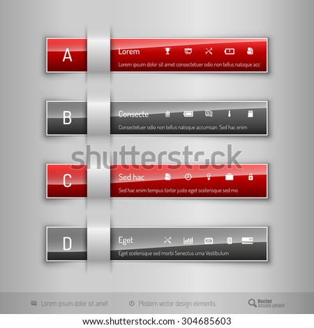 Modern business tabs for infographics. Ttemplate for web design, presentation, education, banner, brochure and flyer.