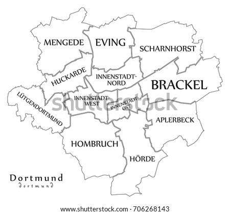 Dortmund City Map Germany De Labelled Stock Vector 706357984