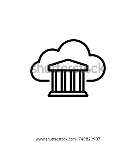 Modern Computer Cloud Line Icon Premium Pictogram Isolated On A White Background Vector Illustration