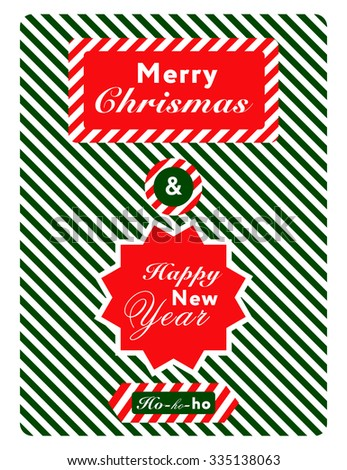 Modern creative Christmas poster or postcard with greetings in traditional colors.