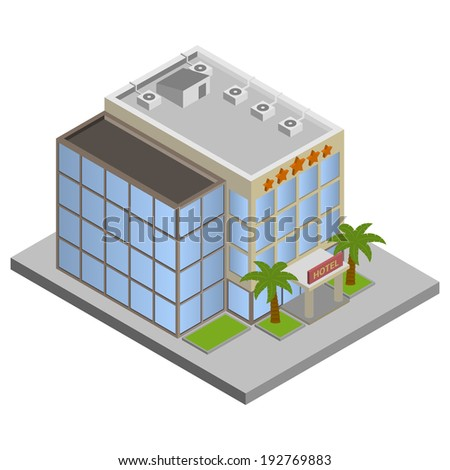 Modern 3d urban hotel building with palms isometric isolated vector illustration.