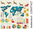 Modern Design template Christmas presentation with world map and Santa riding reindeer / for Year-end Statistics / annual report /info graphics / human resource / banners, graphic or website layout - stock vector
