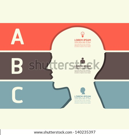 Modern Design template cut head shape style/ can be used for infographics / numbered banners / horizontal cutout lines / graphic or website layout vector
