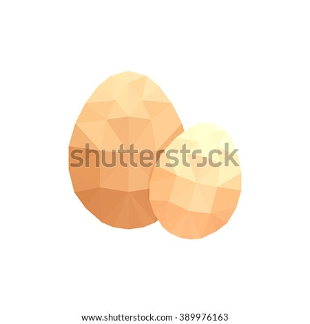 Modern flat design with two origami raw eggs isolated on white background