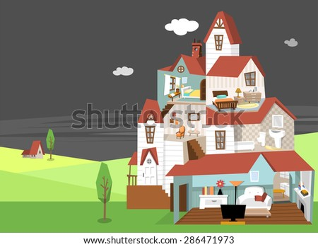 Modern flat vector illustration of a three story house with brown roof. Interior of two bedroom, bathroom and living room with furniture. Beautiful landscape of nature beyond the house at night.