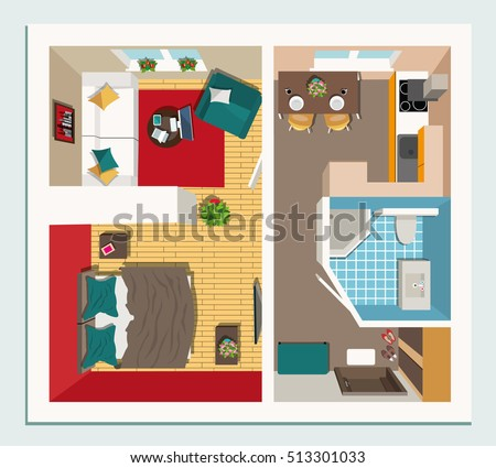 Modern Furniture Top View apartment floor plan furniture top view stock vector 529314895