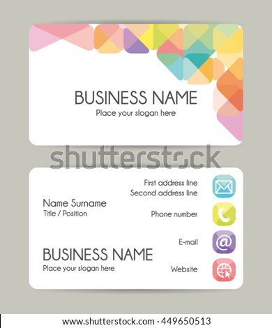 Modern graphic business card template. Vector eps10.