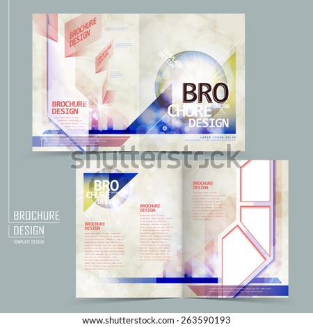 modern half-fold brochure design with colorful geometric elements