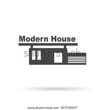 Isolated monochrome modern gravure style train stock for Modern house logo