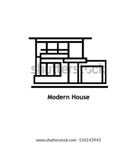 Black thin line design vector icon stock vector 314975906 for Modern house logo