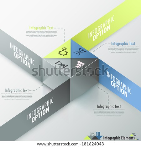 Modern infographics options banner with realistic colorful cube and ribbons. Vector. Can be used for web design and  workflow layout