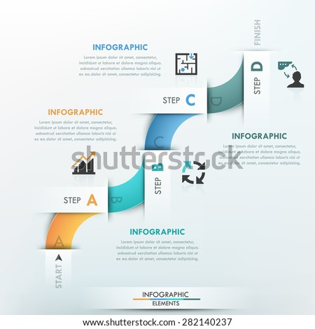 Modern infographics process template with 4 part curved paper ribbon and icons on bright background. Vector. Can be used for web design and  workflow layout