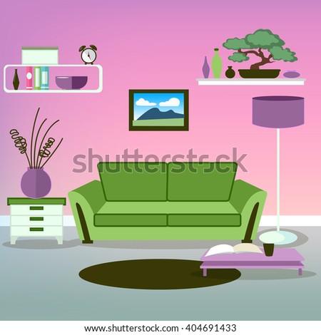 Living Room Purple Colors Vector Illustration Stock Vector
