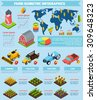 Modern international farming agricultural production facilities and equipment statistic analysis infographic report presentation abstract isometric vector illustration - stock photo