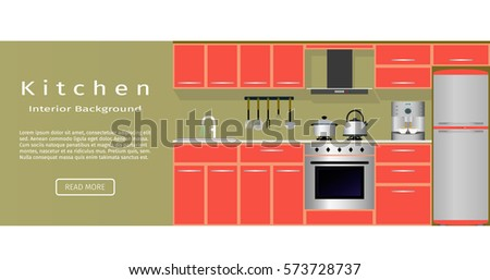 Modern kitchen room interior banner for your web design  Flat vector illustration website designers Kitchen Interior Banner Your Web Design Stock Vector 573728665