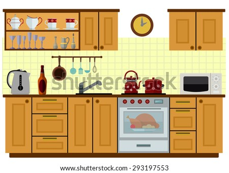Modern Kitchen Background modern kitchen interior brown colors modular stock vector