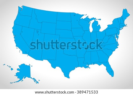 Modern Map - USA with federal states, Source: Outline Map of the United States from er.jsc.nasa.gov