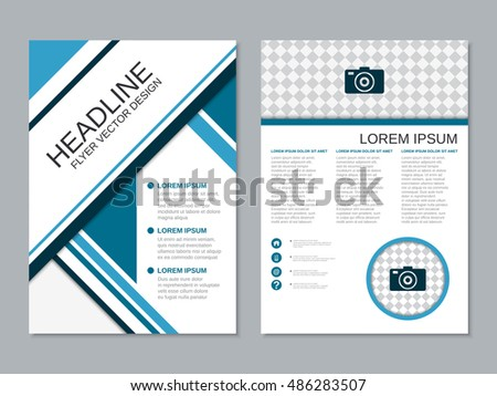 two sided brochure template - modern business flyer vector design template stock vector