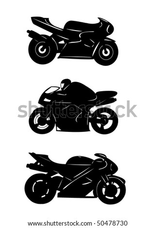 Motorcycle Racing Silhouette Racer bike in silhouette.