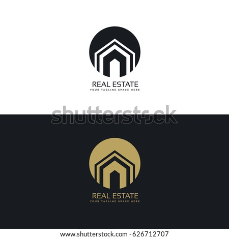 Clean line style real estate logo stock vector 588440573 for Modern house logo