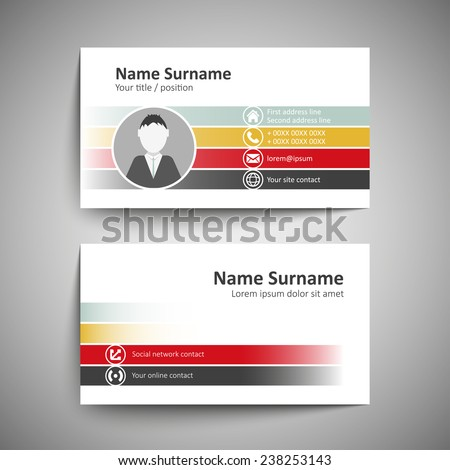 Modern Business Card Name Card Design Vector 407161501 – Name Card Format