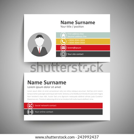 Modern Simple Business Card Template Vector Vector 238253143 – Name Card Format