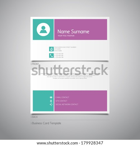Modern simple design business card template with flat user interface