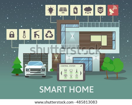 Modern Smart Home Flat Design Style Stock Vector 485813110