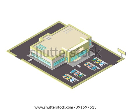 Modern supermarket or shopping center with parking spaces. Isometric vector icon of s large isometric grocery store.