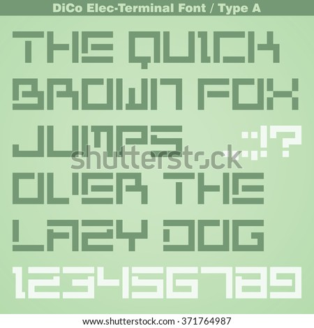 Modern Terminal Font - Type A. Title Bold font. Minimal Futuristic font. Vector Latin Alphabet Letter Set with Numbers and Punctuation Marks.