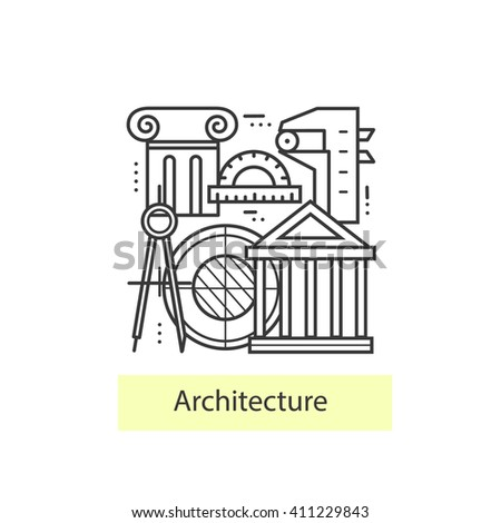 Modern thin linear icons on theme stock vector 394126948 for Architecture icon