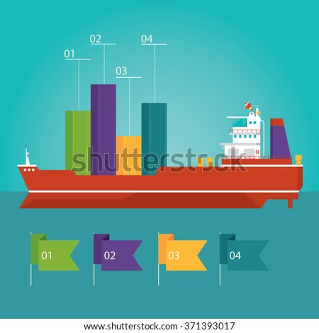 Modern vector illustration of  container ship infographic, cargo ship, delivery in flat design style for presentation, booklet, website