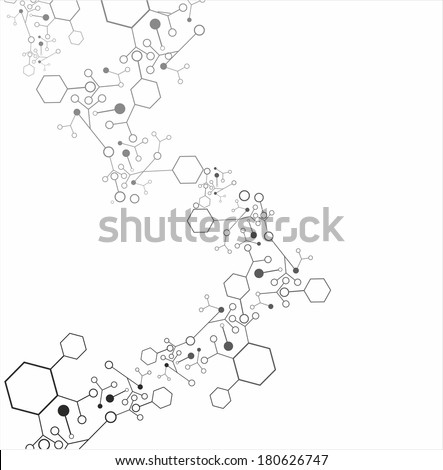 Molecule structure over the white background, vector